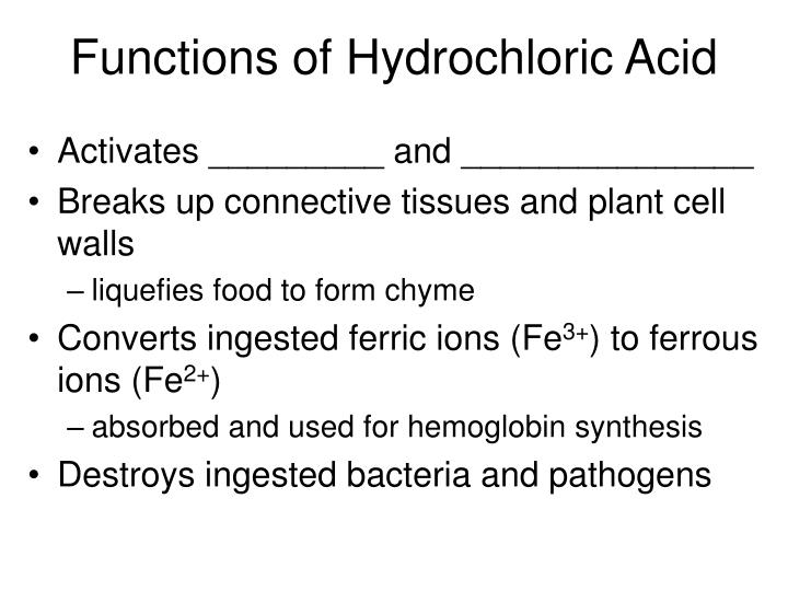 Functions of Hydrochloric Acid