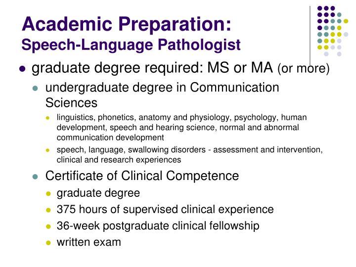 Academic Preparation: