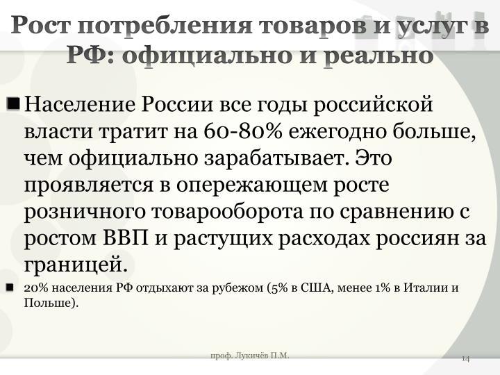Рост потребления товаров и услуг в РФ: официально и реально