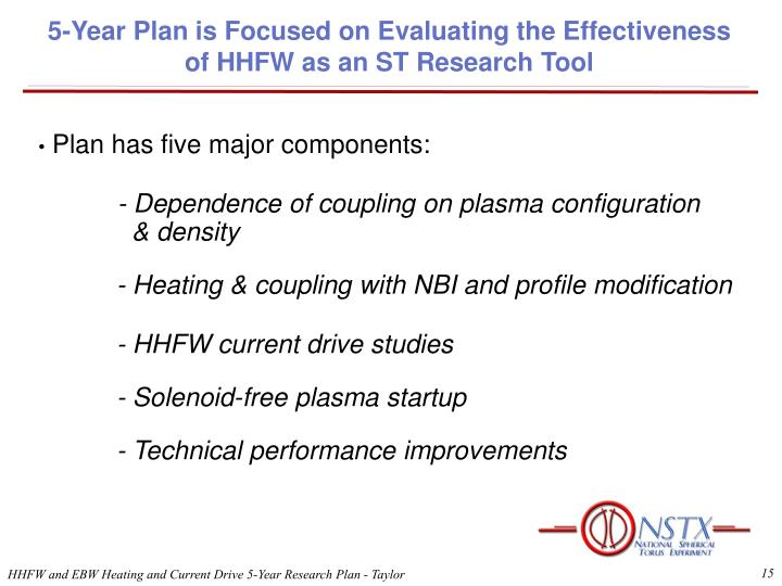 5-Year Plan is Focused on Evaluating the Effectiveness of HHFW as an ST Research Tool