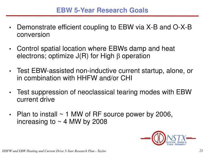 EBW 5-Year Research Goals