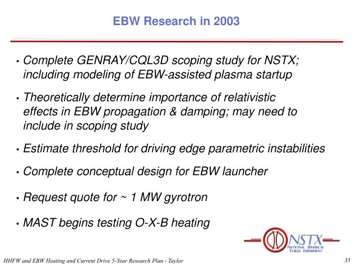 EBW Research in 2003