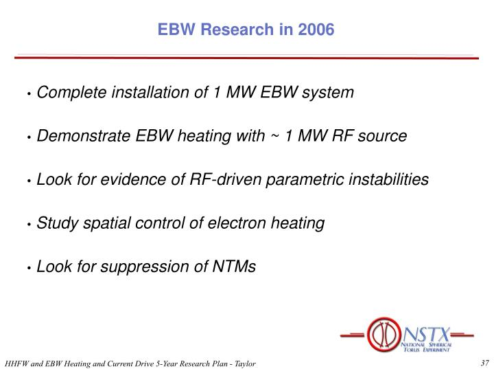 EBW Research in 2006
