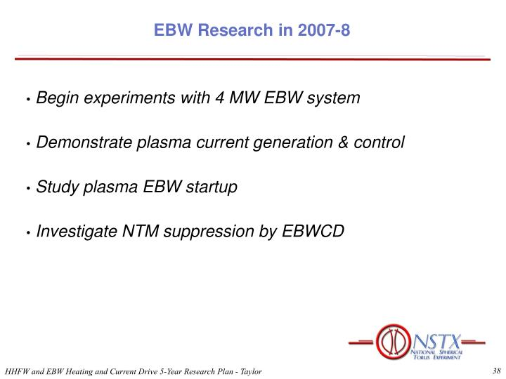 EBW Research in 2007-8