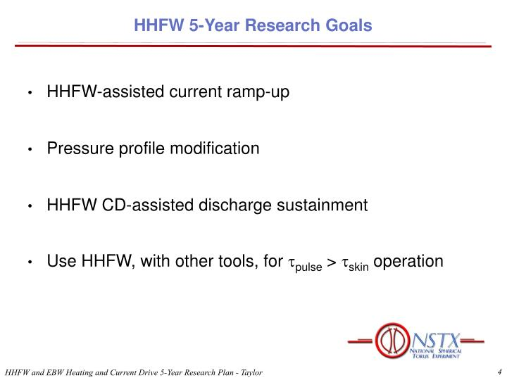 HHFW 5-Year Research Goals