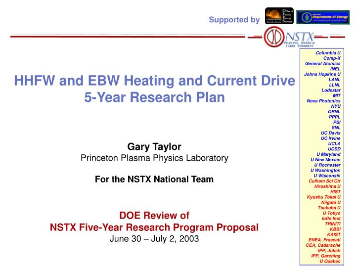 Hhfw and ebw heating and current drive 5 year research plan