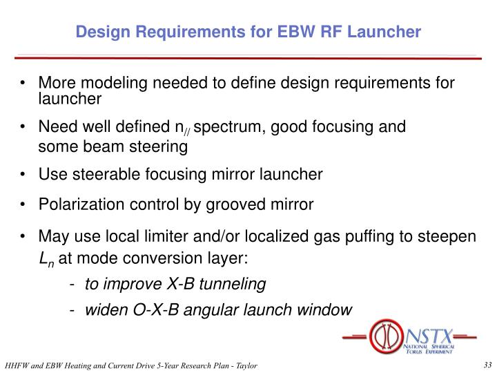 Design Requirements for EBW RF Launcher