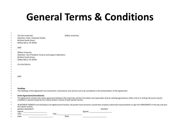 General Terms & Conditions
