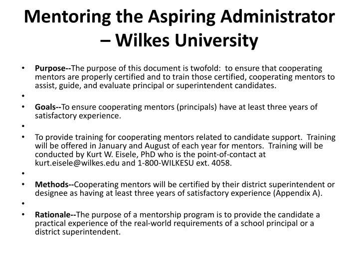 Mentoring the Aspiring Administrator – Wilkes University