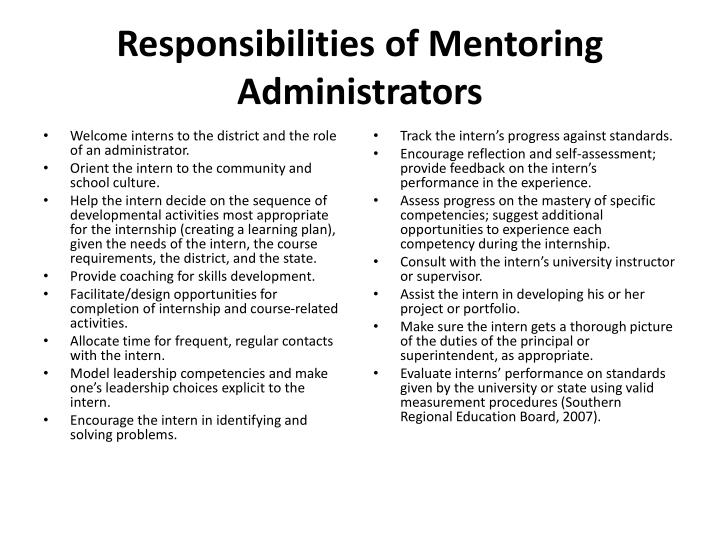 Responsibilities of Mentoring Administrators