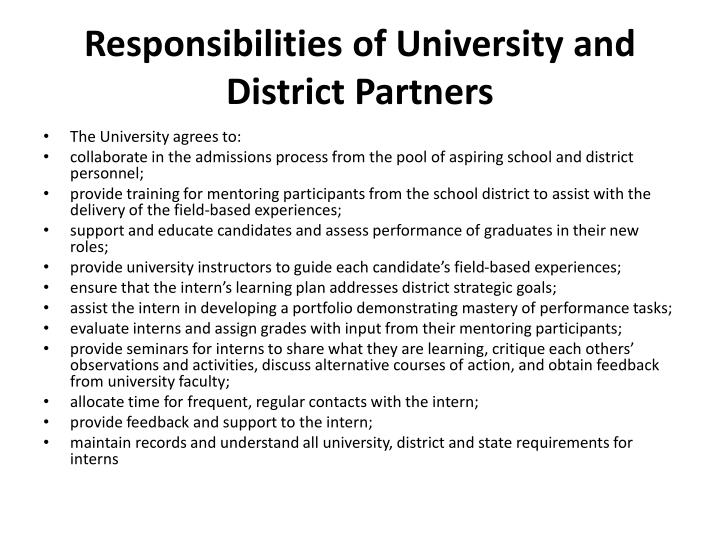Responsibilities of University and District Partners