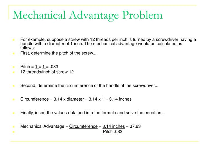 how to solve mechanical advantage