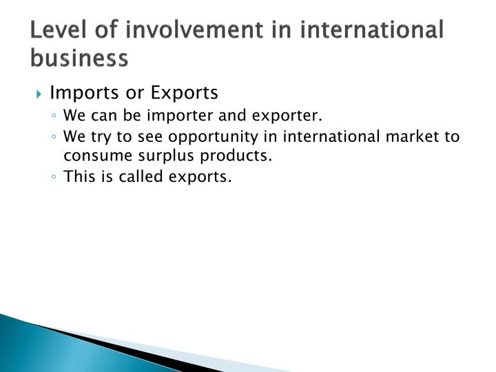 Level of involvement in international business
