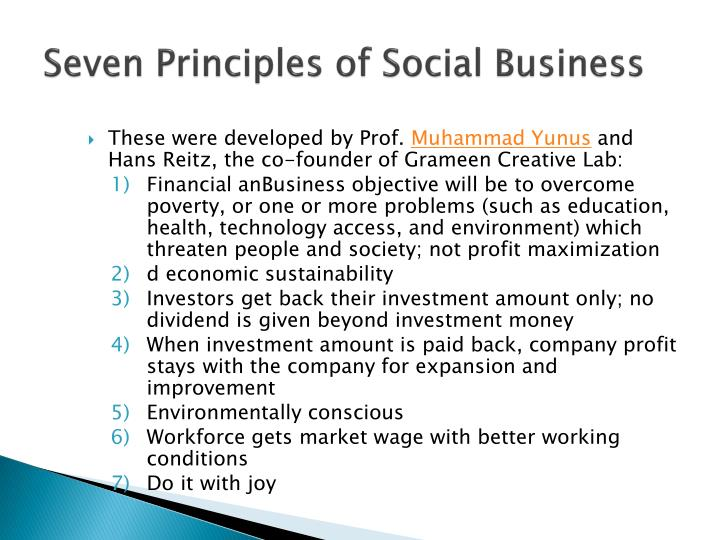 Seven Principles of Social Business