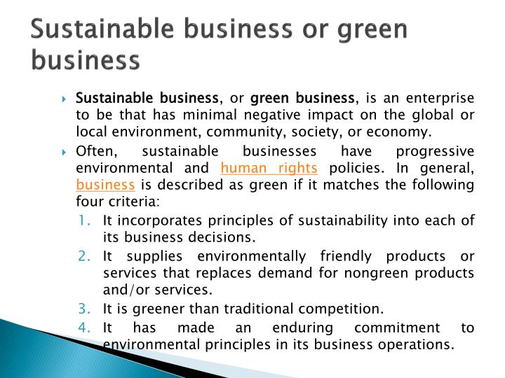 Sustainable business or green business