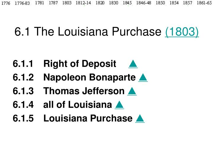 6.1 The Louisiana Purchase