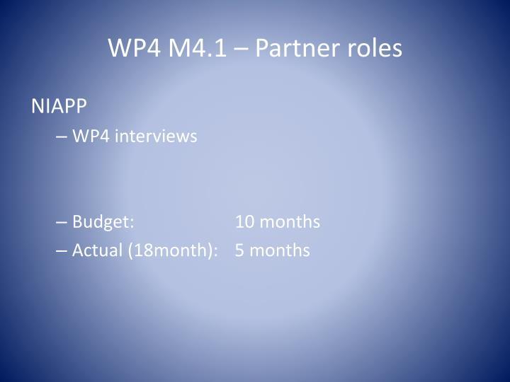 WP4 M4.1 – Partner roles
