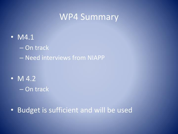WP4 Summary
