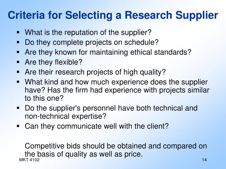 Criteria for Selecting a Research Supplier