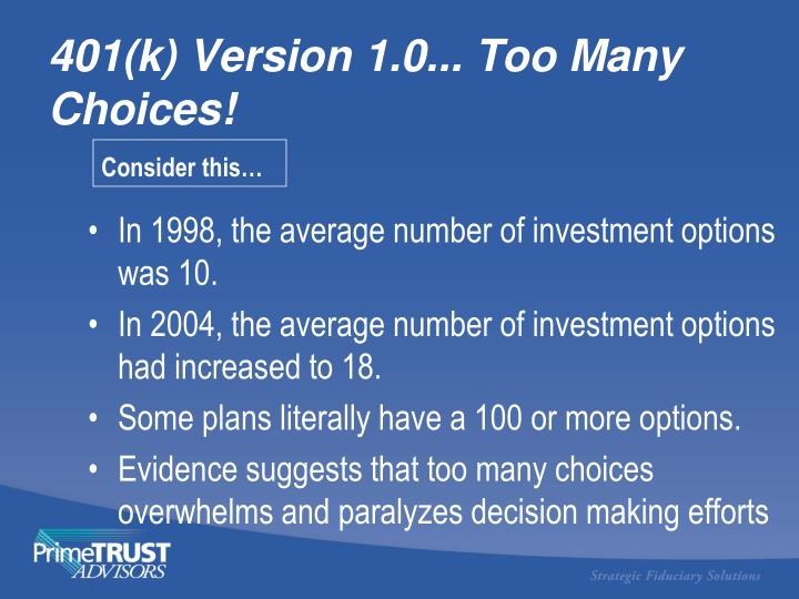 In 1998, the average number of investment options was 10.