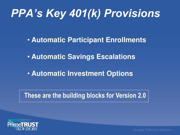 PPA's Key 401(k) Provisions