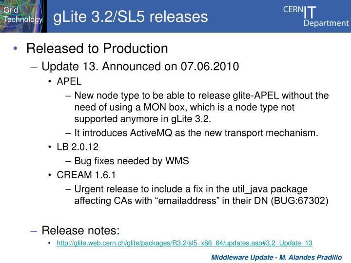 gLite 3.2/SL5 releases