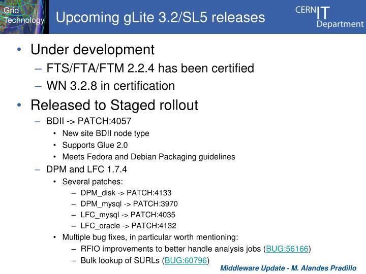 Upcoming gLite 3.2/SL5 releases