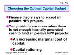 choosing the optimal capital budget