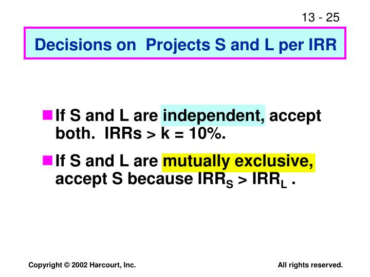 Decisions on  Projects S and L per IRR