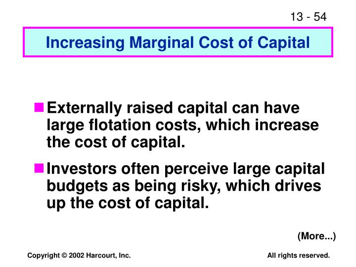 Increasing Marginal Cost of Capital
