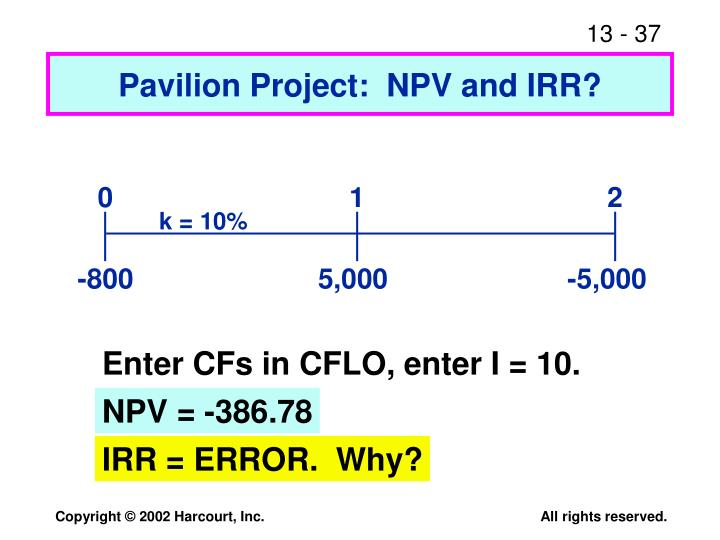 Pavilion Project:  NPV and IRR?