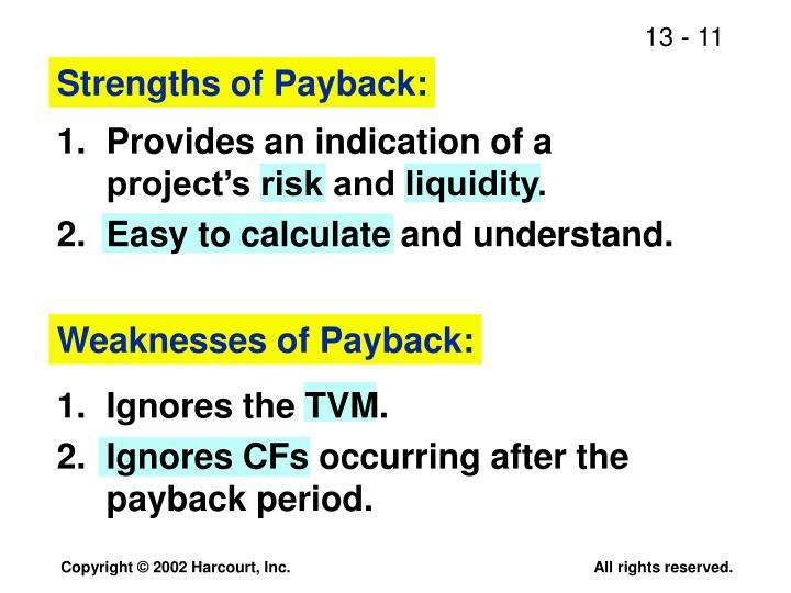 Strengths of Payback: