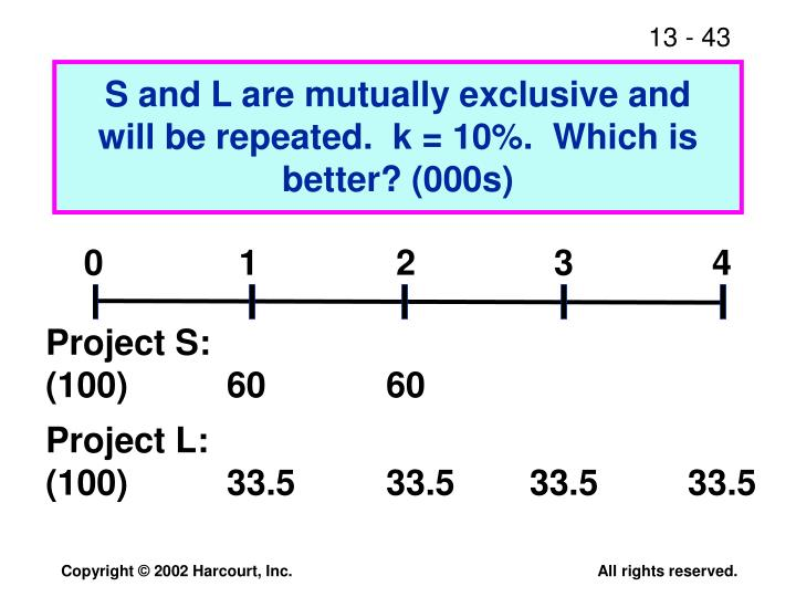 S and L are mutually exclusive and will be repeated.  k = 10%.  Which is better? (000s)