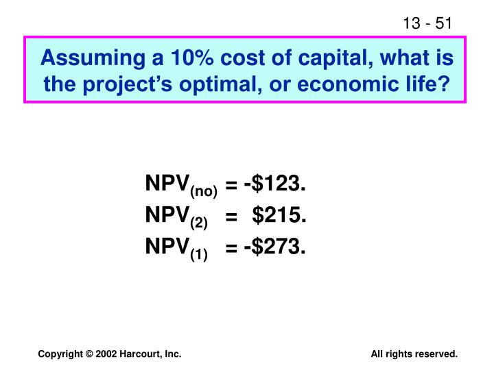 Assuming a 10% cost of capital, what is the project's optimal, or economic life?