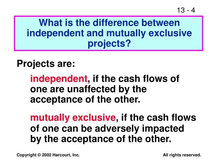 What is the difference between independent and mutually exclusive projects?
