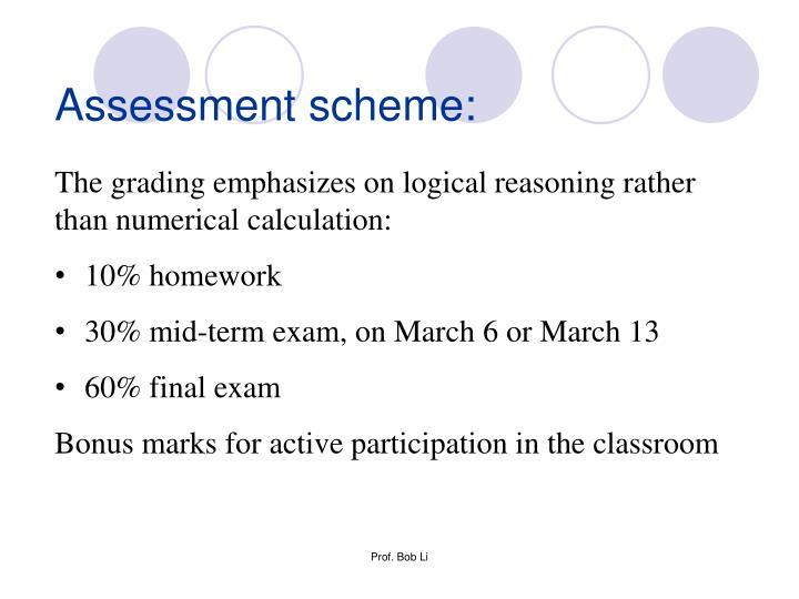 Assessment scheme: