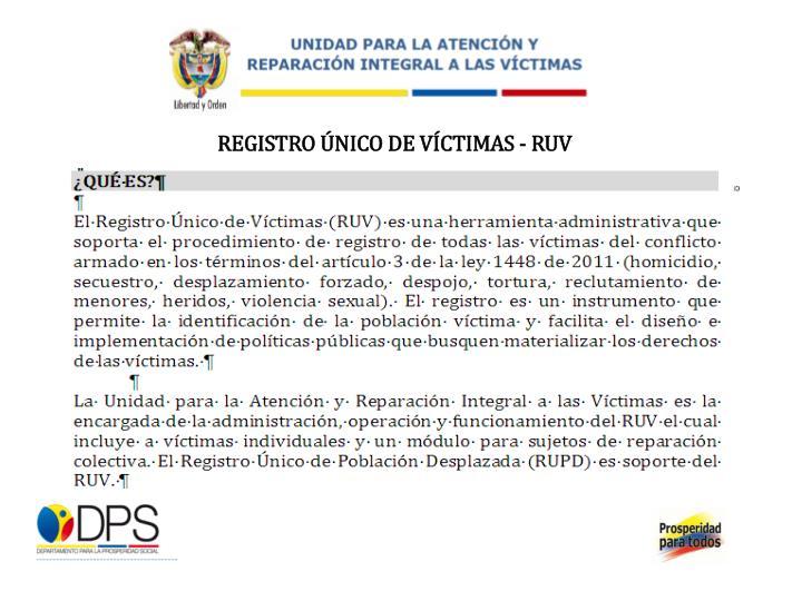 REGISTRO ÚNICO DE VÍCTIMAS - RUV