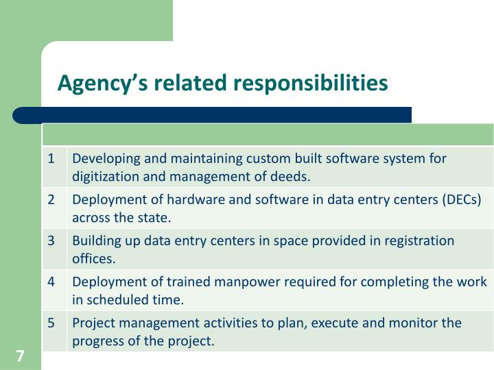 Agency's related responsibilities