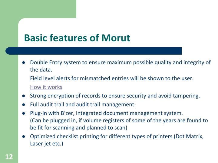 Basic features of Morut
