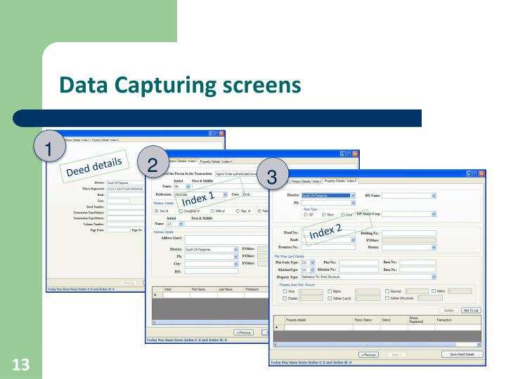 Data Capturing screens