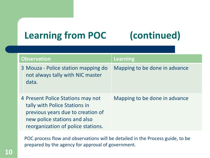 Learning from POC          (continued)