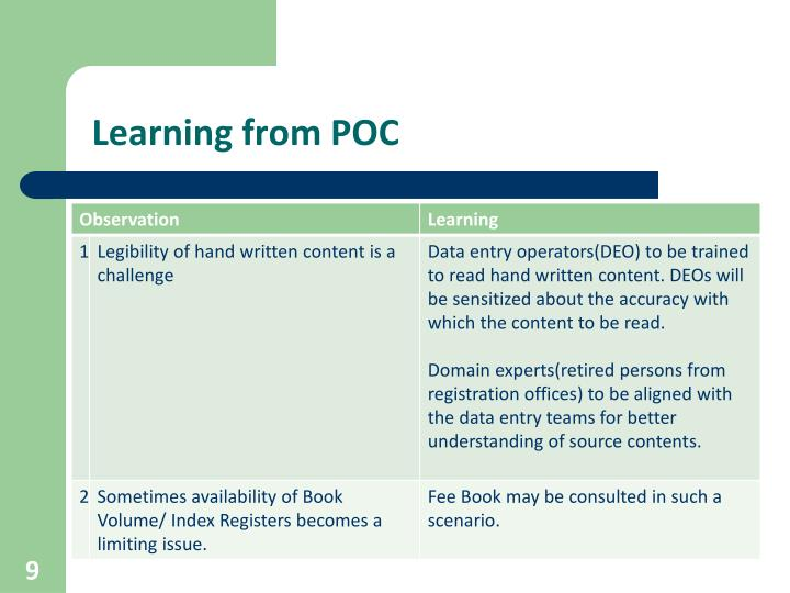 Learning from POC