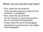 where can you find the main idea