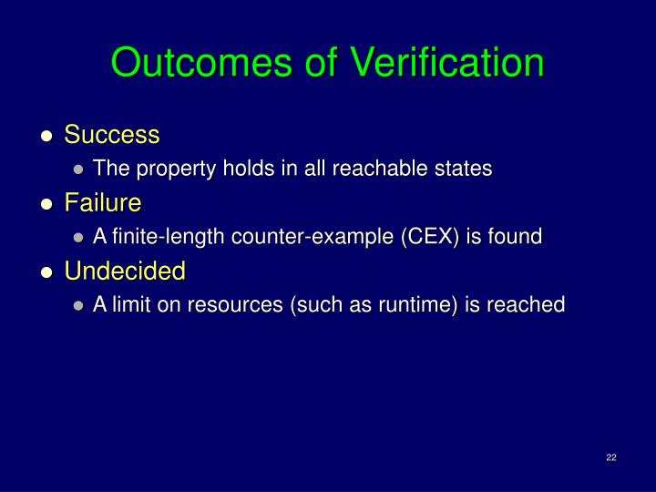 Outcomes of Verification