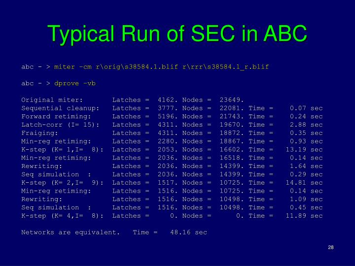 Typical Run of SEC in ABC