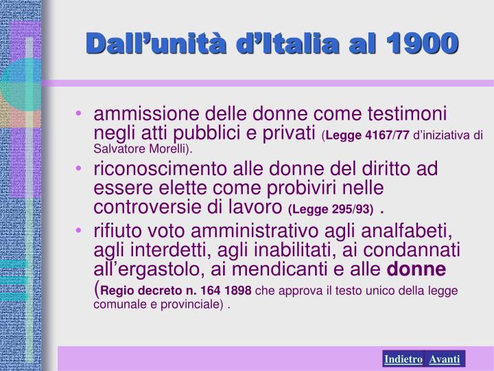 Dall'unità d'Italia al 1900