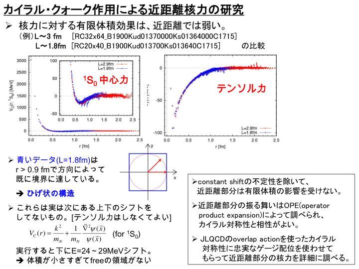 カイラル・クォーク作用による近距離核力の研究