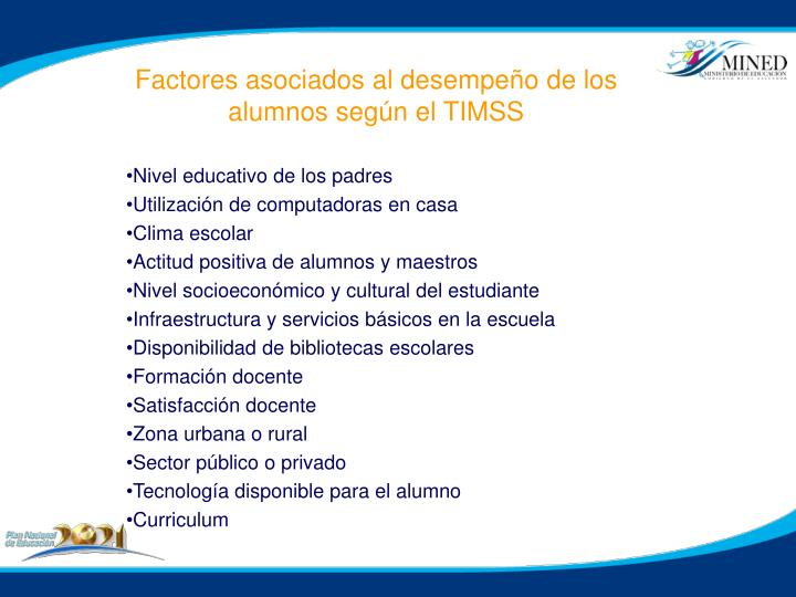 Factores asociados al desempeño de los alumnos según el TIMSS