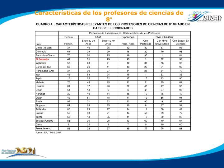 Características de los profesores de ciencias de 8°