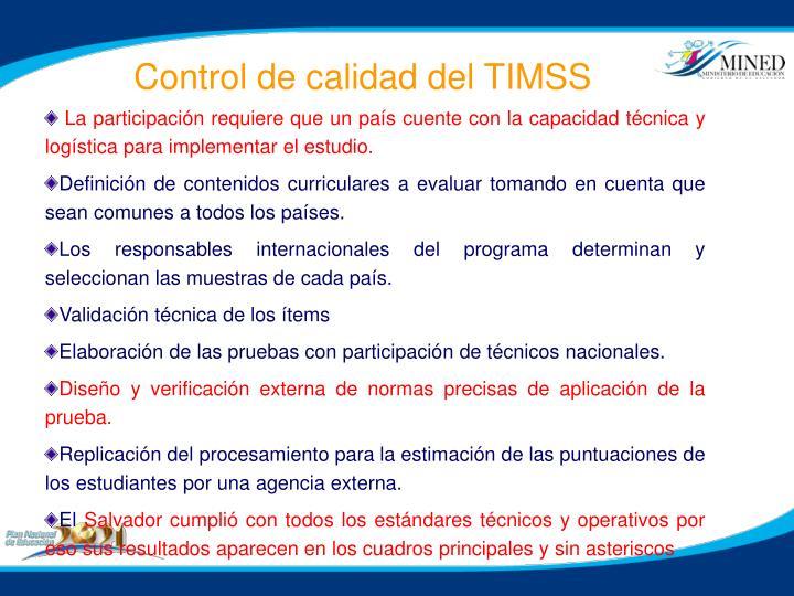 Control de calidad del TIMSS